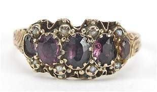 Victorian 9ct gold amethyst and seed pea...