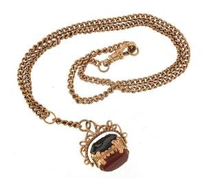 Victorian 9ct gold watch chain with bloo...