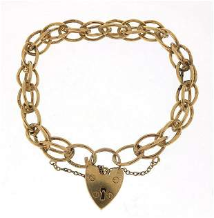 9ct gold charm bracelet with love heart ...