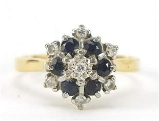 18ct gold diamond and sapphire three tie...