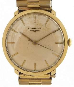 Longines, gentlemen's 9ct gold manual wr...