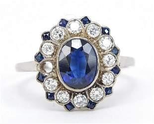 18ct white gold blue stone and diamond c...
