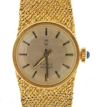 MW, ladies 9ct gold manual wristwatch wi...