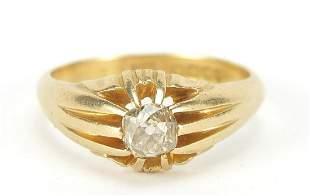 18ct gold diamond solitaire ring, the di...