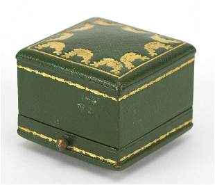 Cartier, tooled green leather ring box w...
