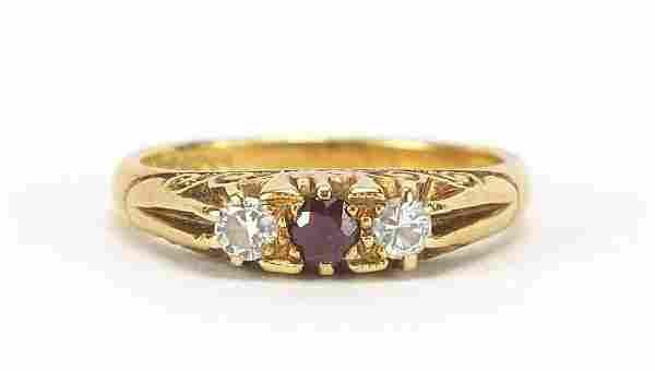 18ct gold diamond and ruby three stone r...