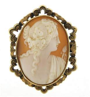 Victorian cameo maiden head brooch with ...