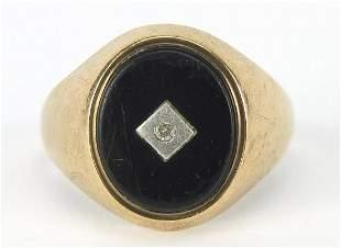 9ct gold black onyx and diamond signet r...