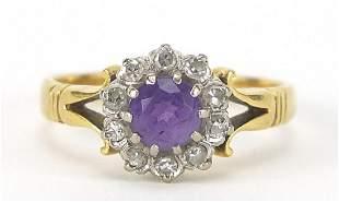 18ct gold amethyst and diamond ring, siz...
