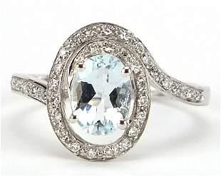 9ct white gold aquamarine and diamond ri...