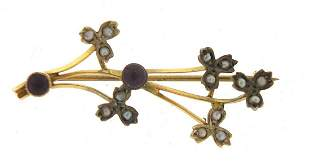 Antique unmarked gold amethyst and seed ...