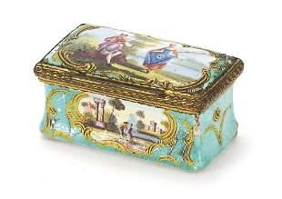 Antique Continental enamel patch box han...
