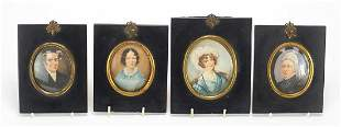 Four Victorian oval hand painted portrai...