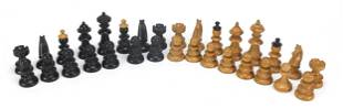 Boxwood and ebony chess set, the largest...