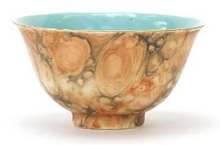 Chinese faux bois porcelain bowl, four f...