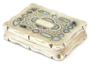 George V rectangular silver snuff box wi...