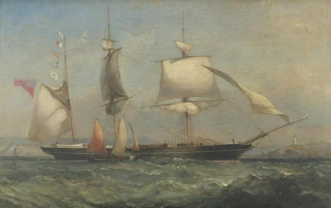 Frigate and sailing boat at sea, 18th/19...
