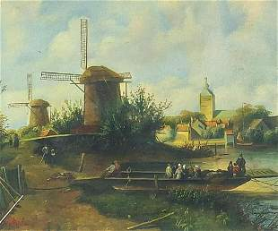 Riverside landscape with windmills, Dutc...
