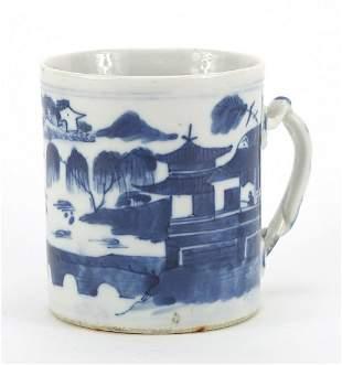 Chinese blue and white porcelain mug han...