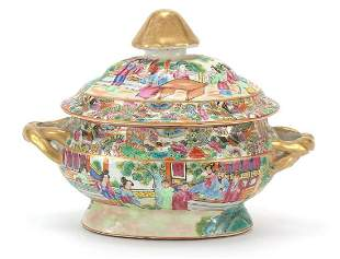 Chinese Canton porcelain sauce tureen an...