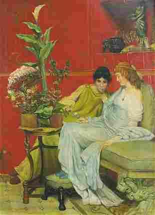 Two females in an interior, Italian Pre-...