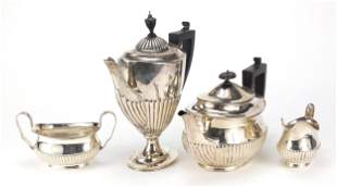 Victorian silver four piece demi fluted ...