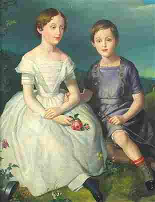 Full length portrait of two children, Ge...