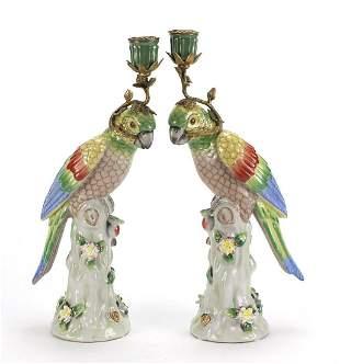 Pair of continental porcelain parrot des...