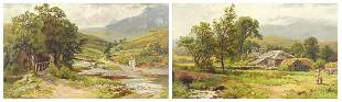 Figures before a cottage and figure on h...