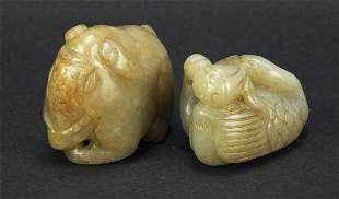 Two Chinese celadon jade carvings includ...