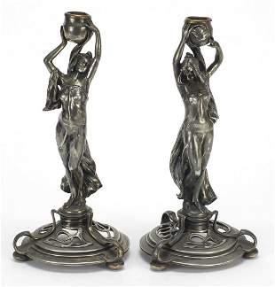 WMF, Pair of German Art Nouveau silver p...