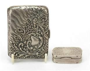 Victorian silver cigarette case and snuf...