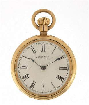Waltham, ladies 14ct gold plated open fa...
