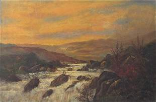 River landscape before mountains, 19th c...