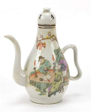 Chinese porcelain teapot hand painted in...