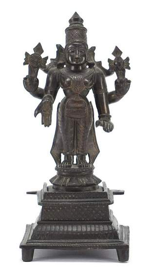 Indian patinated bronze votive figure of...