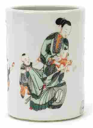 Chinese porcelain brush pot hand painted...