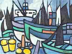 Fishing boats before water, Irish school...