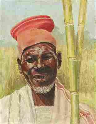 Portrait of an African farmer, oil on bo...