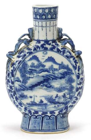 Chinese blue and white porcelain moon fl...