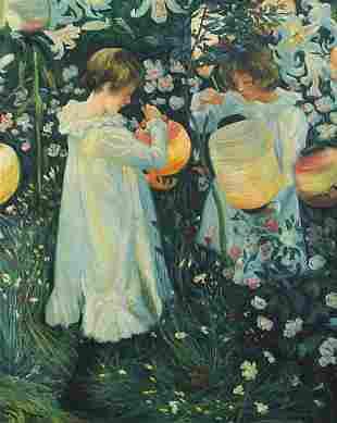Two girls with lanterns, Italian school ...