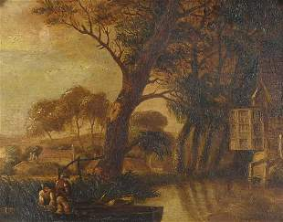 River landscape with figures and boats, ...