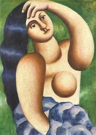 Surreal portrait of a female, oil on boa...