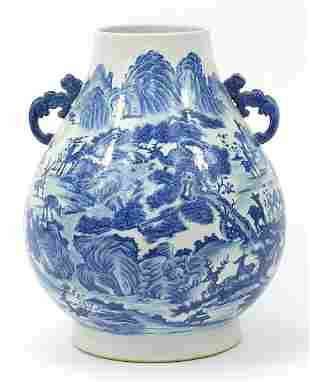 Very large Chinese blue and white porcel...