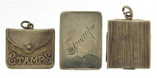 Three Victorian and later silver stamp c...