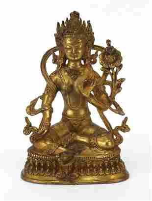 Chino-Tibetan gilt bronze figure of seat...