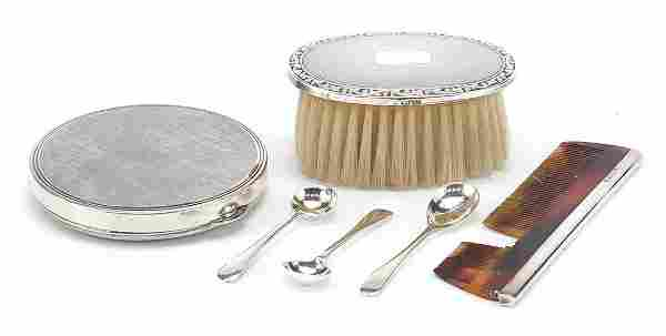 Silver items comprising silver backed br...