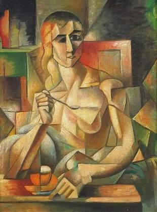 Surreal portrait of a figure, Fauvist sc...