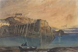 C Williams - Whitby Harbour, gouache, de...