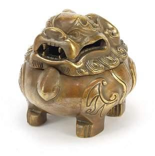 Chinese patinated bronze incense burner ...